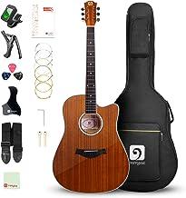 "Vangoa 41"" Acoustic Guitar Kit, Full Size Cutaway Acoustic Guitar Beginner Kit with Padded Case, Tuner, Strap, Picks, Capo..."