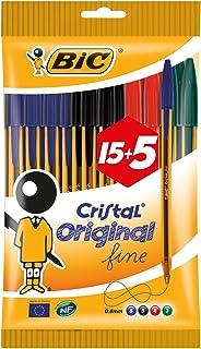 BIC Cristal Original Fine - Bolígrafos punta fina (0.8 mm), Blíster de 15+5 unidades, Colores Surtidos