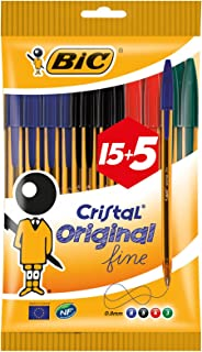 BIC Cristal Fine Tip Ball Pens - Orange/Assorted Colours (Value Pack of 15, Plus 5 Free)