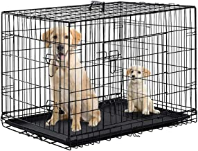 Dog Crate Dog Cage Pet Crate 48 Inch Folding Metal Pet Cage Double Door W/Divider Panel Dog Kennel Leak-Proof Plastic Tray...
