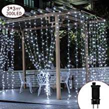 CREASHINE Cortina de Luces LED Decoración Interior, 3 * 3M 300 LEDs Cortinas de Luz Impermeable, 8 Modos, Blanco para Fiestas, Bodas, Casa, Jardín, Decoración Navidad, etc.