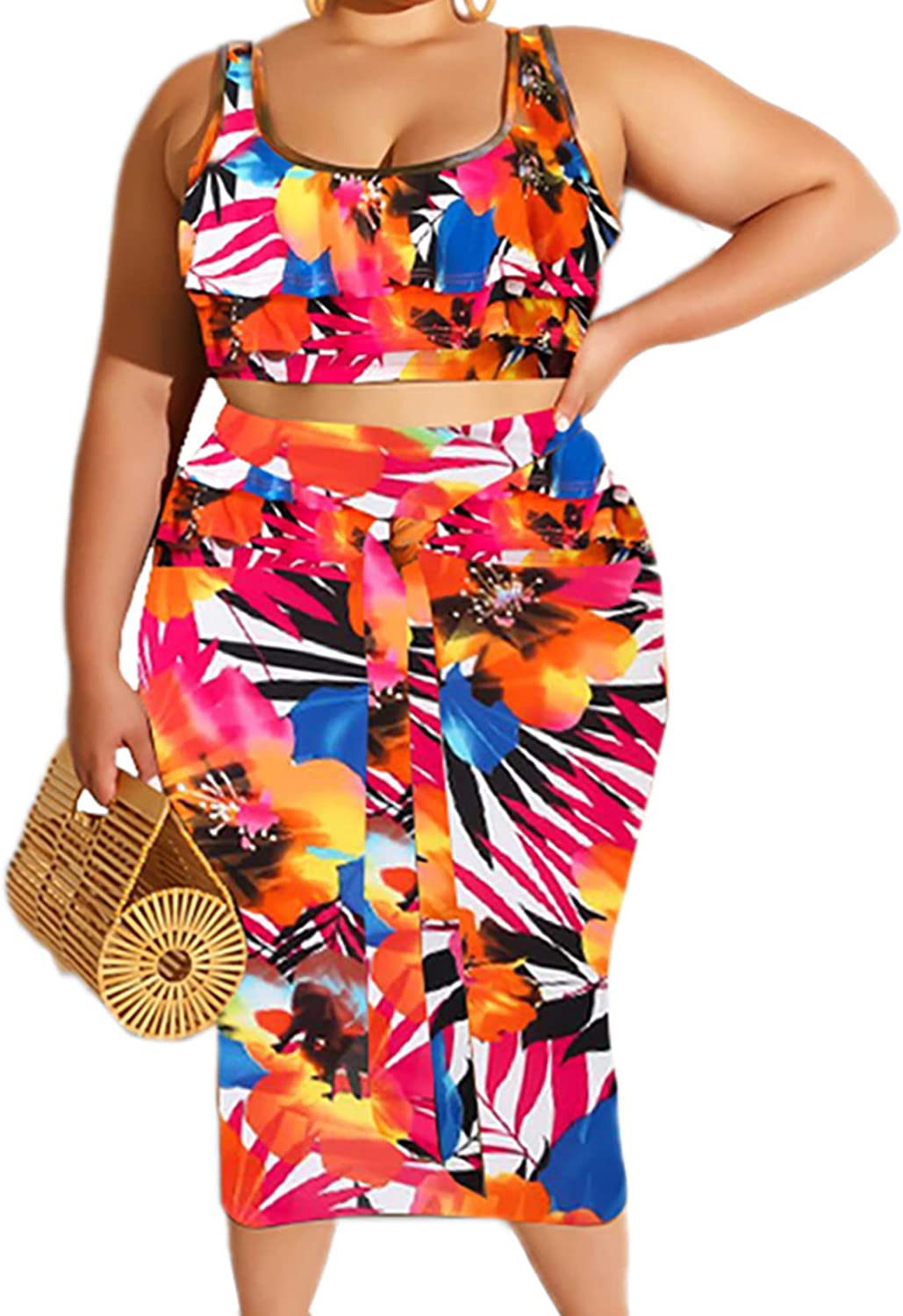 Plus Size Skirt Sets - Stretchy Two Piece Dresses Bodycon Tanks Crop Top + Bandage Midi Skirt Suits