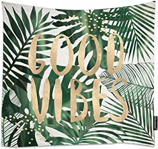 Moslion Palm Leaf Tapestry Tropical Jungle Forest Palm Tree Leaves Good Vibes Word Tapestries Decorative Home Polyester Wall Hanging Tapestry Living Room 60x51 Inch Green