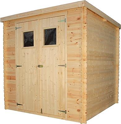 TIMBELA Abri de Jardin en Bois M309 - Stockage extérieur l204xL204xH202 cm/3.53 m2 - Petit abri à Outils, Local à vélos - Toit imperméable, fenêtres