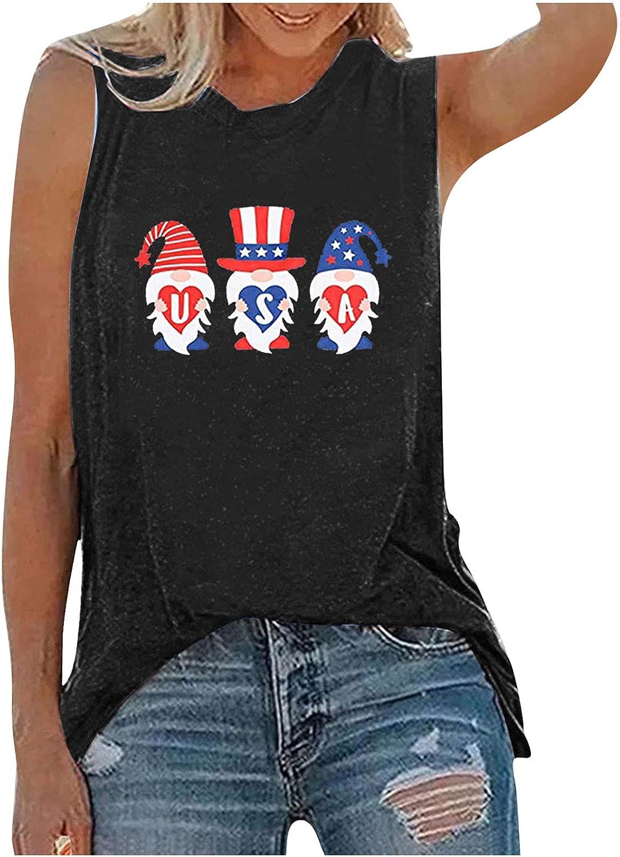 Aukbays Womens Tank Tops Patriotic Shirt USA Flag Stars Stripes Sunflower Print Sleeveless T-Shirt 4th of July Tees
