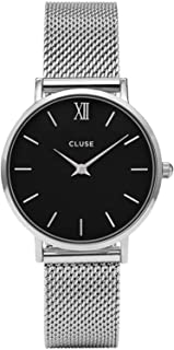 CLUSE Minuit Mesh Silver Black CL30015 Women's Watch 33mm Stainless Steel Strap Minimalistic Design Casual Dress Japanese Quartz Elegant Timepiece