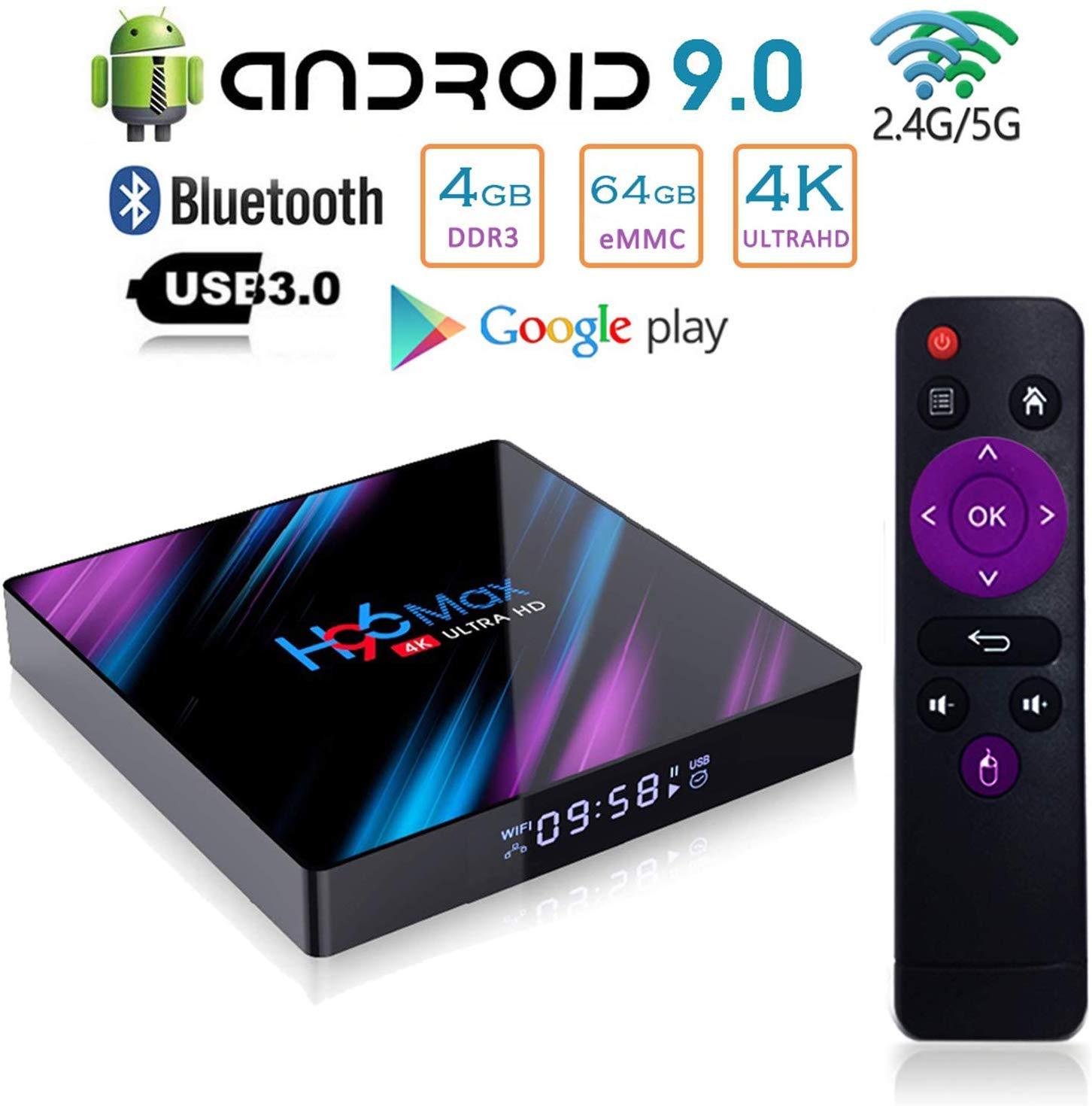 Android 9.0 TV Box,H96 MAX Android Box RK3318 Quad-Core 64bit Cortex-A53,4GB RAM