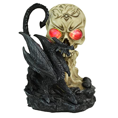 b19a243603 Large Dragon and Skull Led Eyes Gothic Figurine