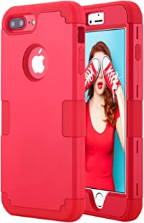 Petocase Compatible iPhone 8 Plus Case, Heavy Duty Slim Shockproof Drop Protection 3 in 1 Hybrid Hard PC Covers Soft Rubber Bumper Protective Case for iPhone 8 Plus / 7 Plus - Red