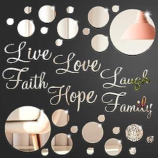 3D Acrylic Mirror Wall Decor Stickers DIY Faith Live Laugh Hope Love Family Mirror Wall Decor Solid Circle Mirror Wall Dec...