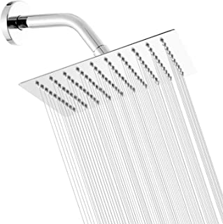 Chrome Shower Head Yifinessyi High Pressure 10 Inch Square Stainless Steel Shower Head Rainfall Style Shower Heads Ultra Thin Rainfall Bath Shower 1/2 Connection
