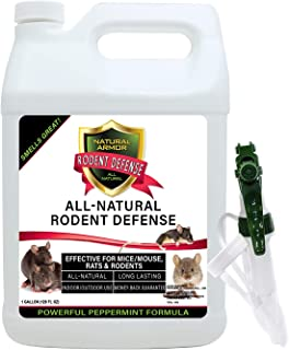 Natural Armor Peppermint Repellent for Mice/Mouse, Rats & Rodents. All Natural & Safe Spray for Indoor & Outdoor Use Rodent Defense. 128 OZ Gallon Ready to Use