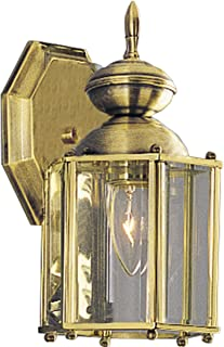 Progress Lighting P5756-10 Traditional One Light Wall Lantern from BrassGUARD Collection Cast Finish, 5-1/2-Inch Width x 10-1/4-Inch Height, Polished Brass