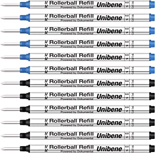 Unibene Montblanc Compatible Gel Ink Rollerball Refills 12 Pack, 0.5mm Fine Point - 6 Black&6 Blue, Rolling Ball Refills Fit Mont Blanc Rollerball/Fineliner Pen