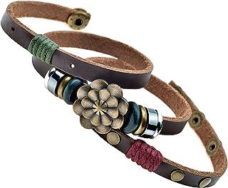Celokiy Multilayer Leather Personality Hematite Lucky Lotus Flower Snap Button Wrap Bracelet
