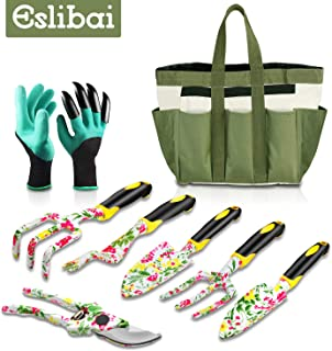 Eslibai Garden Tools Set, 9 Gardening Tools with Soft Garden Gloves and Beautiful Garden Tote Fairy Gardening Gifts Set with Garden Trowel and More