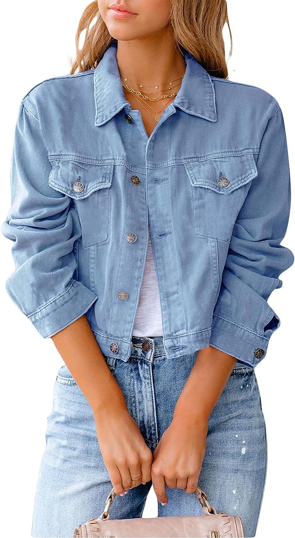 Women's Cropped Denim Jacket Long Sleeve Button Down Jean Top Casual Classic Jean Jacket Coats