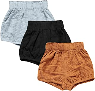 Baby Girls Boys 3 Pack Cotton Linen Blend Cute Bloomer Shorts Loose Harem Shorts