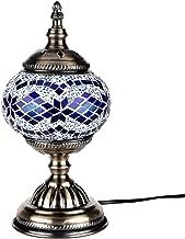 Kindgoo Turkish Mosaic Lamp Decorative Handmade Unique Glass Bedside Table Lamp Led Bulb Included (Blue)