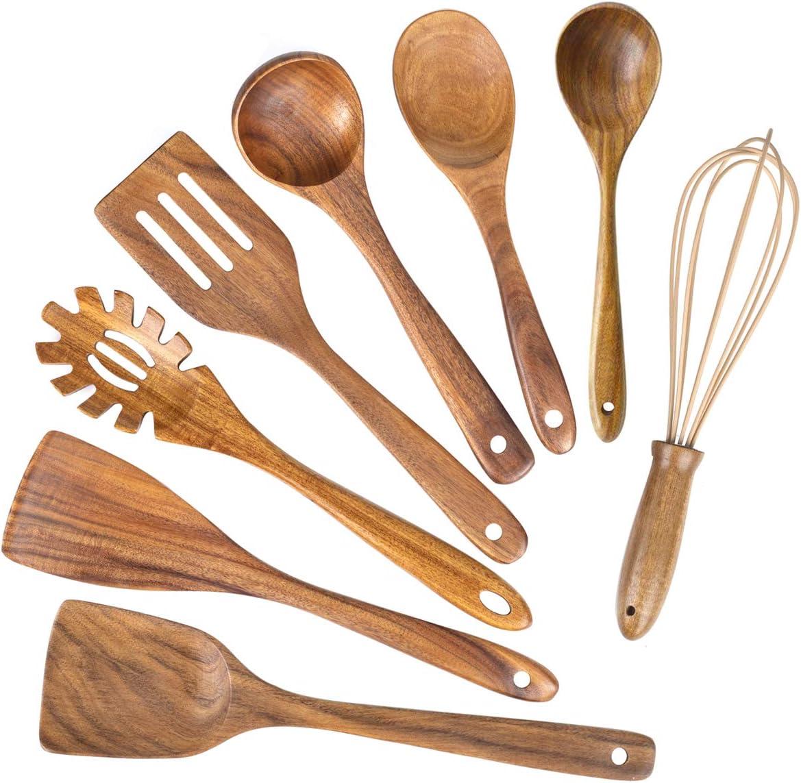 Wooden Kitchen Utensils 5 ☆ very popular for Cooking Natural Wood Teak Se Free shipping Utensil