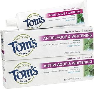 Tom's of Maine Antiplaque & Whitening Toothpaste, Fluoride-Free - 5.5 oz - Peppermint - 2 pk
