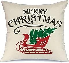 AENEY Farmhouse Christmas Pillow Cover 18x18 inch for Christmas Decor Christmas Sleigh Throw Pillow Christmas Decorations Merry Christmas Throw Pillow Cover