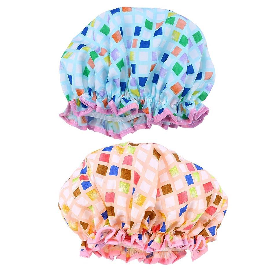 限られた真空壊れたHEALIFTY 風呂帽子2ピース防水シャワーキャップ美しい厚さのダブルデッキエヴァシャワーキャップ女の子女性レディ(ブルー+ベージュ)