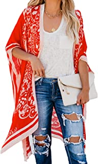 Dokotoo Womens Open Front Printed Loose Style Kimonos Casual Bikini Set Swimwear Cover Up