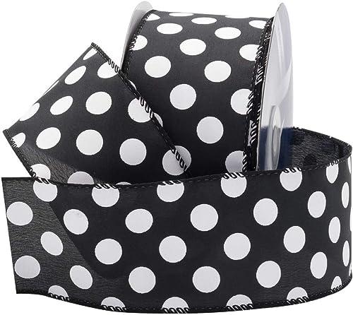 "popular Royal Imports Black/White Polka Dot Ribbon, 2.5"" (#40) Circle Design for Floral, Craft, Holiday Decoration, 25 Yard Roll (75 online sale FT discount Spool) Bulk outlet sale"