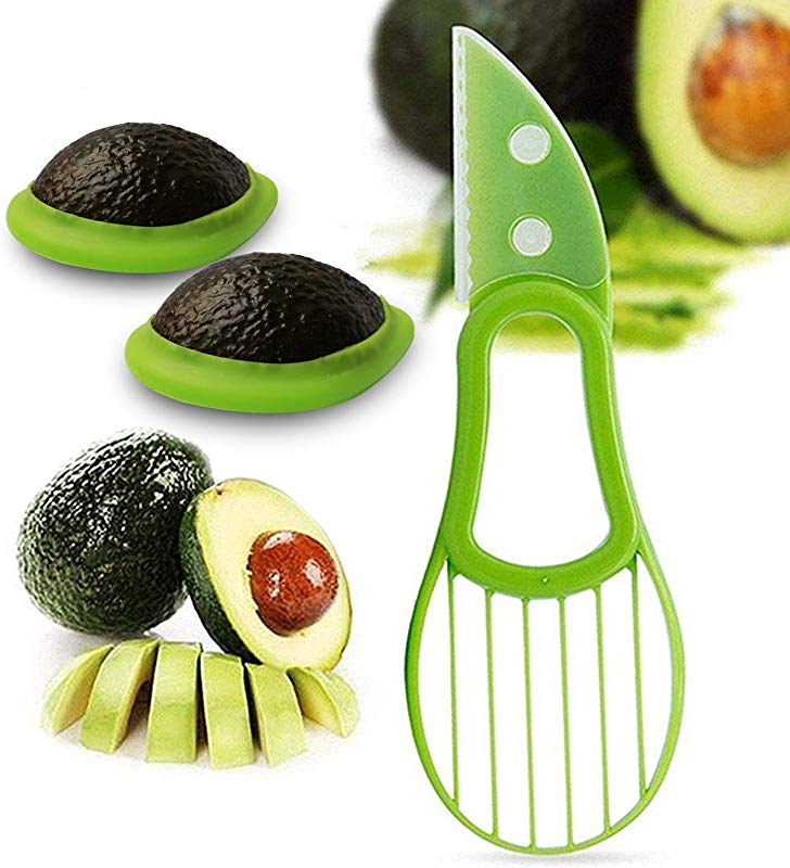 Avocado Saver And Slicer 3 In 1 Avocado Holder Keeper Storage Cover Silicone Food Savers Avocado Slicer Pitter Peeler Cutter Skinner And Corer Tools