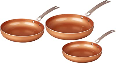 CONCORD 3 Piece Ceramic Coated -Copper- Frying Pan Cookware Set (Induction Compatible)
