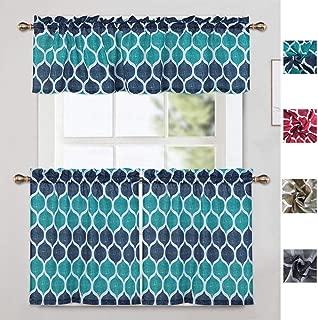 CAROMIO Moroccan Pattern Print Kitchen Curtain Tier & Valance Set Short Bathroom Window Curtains Set (Seafoam Green and White)