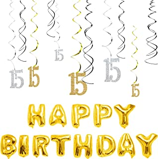 MAGJUCHE 15th Birthday Decorations Kit-Gold Silver Glitter Happy 15 years old Birthday Banner & Sparkling Celebration Hanging Swirls, Party Supplies