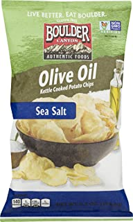 Boulder Canyon Authentic Foods Olive Oil Kettle Cooked Potato Chips (Sea Salt 6.5 oz., 4 Bags)