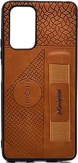 غطاء حماية مصنوع من الجلد مع حامل متوافق مع هاتف شاومي ريدمي نوت 10 برو (بني)