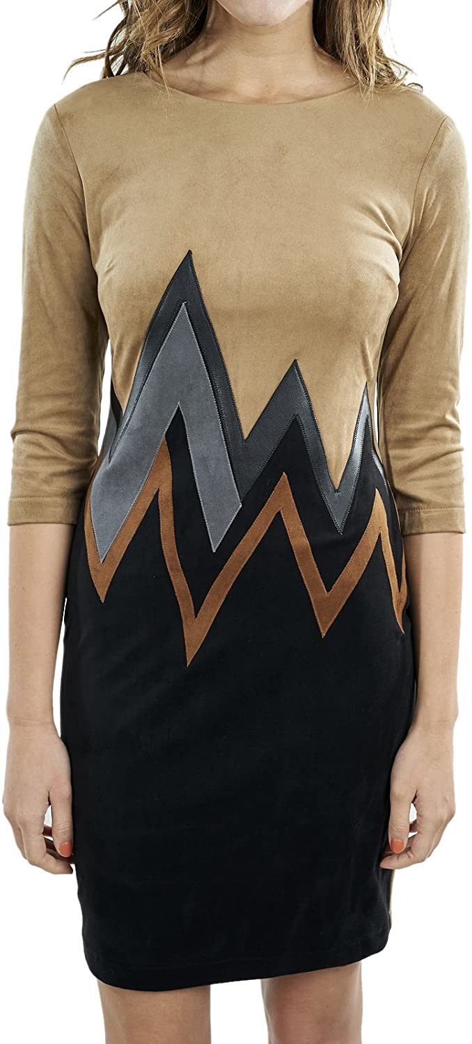 Joseph Ribkoff Long sleeve Faux Suede Dress with Chevron Print Style 164445X