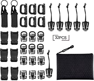 Fashionclubs 32pcs Tactical Molle Attachments Tactical Gear Clip Straps Set Molle Webbing Attachments for Tactical Backpac...