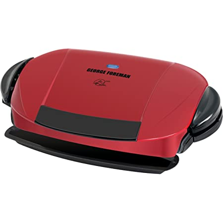 George Foreman 5-Serving Removable Plate Electric Indoor Grill and Panini Press, Red, GRP0004R, 17.2 x 12.1 x 6.2 inches