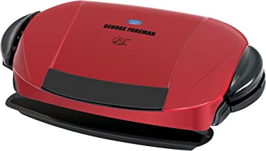George Foreman 5-Serving Removable Plate Electric Indoor Grill and Panini Press, Red, GRP0004R
