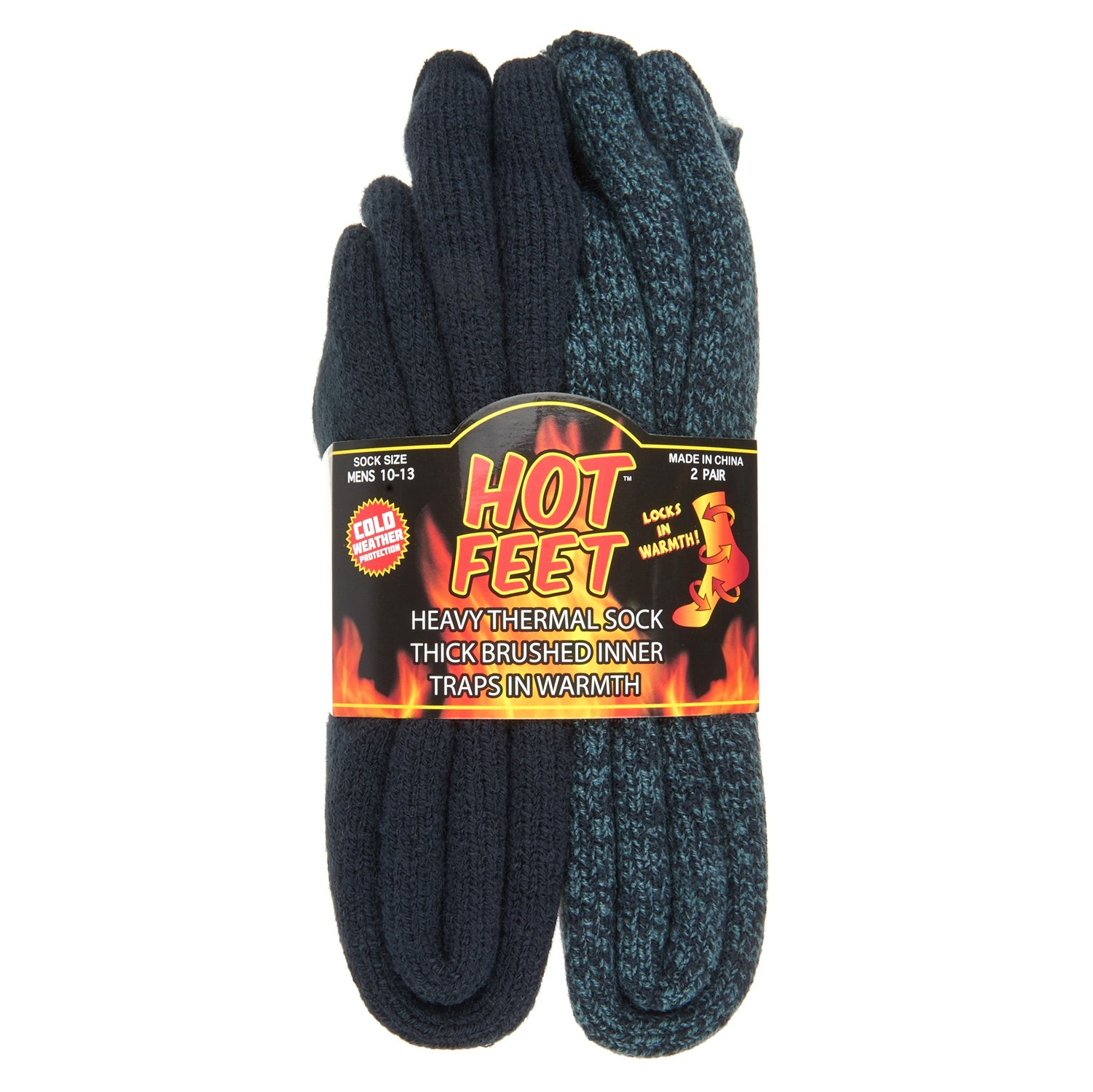 12.5 Heated Thermal Socks for Men Patterned Crew Socks Hot Feet USA Men/'s Sock Sizes 6 Warm Hot Feet Cozy
