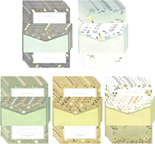 XPdesign レターセット 花 鳥 風 月 自然 景色 レター 手紙 封筒 便せん ポストカード メッセージ 写真サイズ (グリーン5種セット)