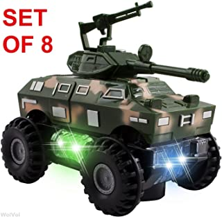 WolVol Set of 8 Military Car Truck Toys with Lights and Sounds for Kids, Army Action with Bump & Go (Size of Each Vehicle is Approximately 5