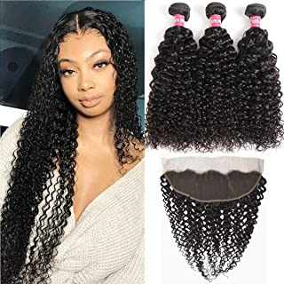 Brazilian Virgin Kinky Curly Human Hair 3 Bundles with Frontal Closure 13 X 4 Ear To Ear..