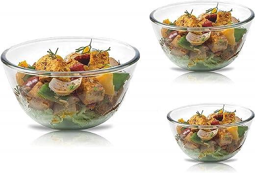 SignoraWare Mixing Bowl Borosilicate Glass, Set of 3, (500ml+1000ml+1500ml), Clear