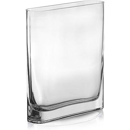 "CYS EXCEL Glass Rectangle Vase (H:8"" Open:7""x2"") | Multiple Size Choices Round Edge Oval Flower Vase | Rectangular Wedding Centerpiece Vases"
