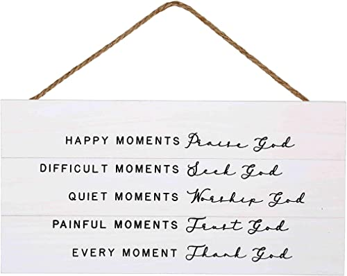 popular GSM Brands Happy Moments high quality Praise God Wood Plank Hanging Sign for Home Decor (13.75 x 6.9 Inches with online White Background) online sale