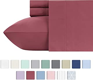 California Design Den 600 Thread Count Best Bed Sheets 100% Cotton Sheets Set - Long-Staple Cotton Sheet for Bed 4 Piece Set with Deep Pocket (Deco Rose, Queen)