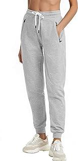 PULI Women Workout Sweatpants Cotton Jogger Ribber Splicing Lounge Sweat Pants with Zipper Pocket