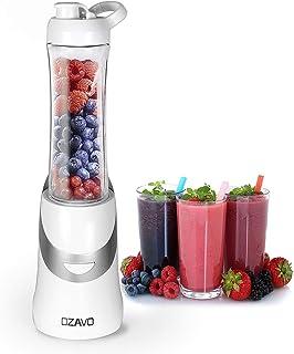 OZAVO Smoothie Maker   Blender 350W   BPA vrij   600ml Tritan drinkfles draagbaar   4 roestvrijstalen messen (wit)