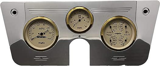 Dolphin Gauges 1967 1968 1969 1970 1971 1972 Chevy Truck 3 Gauge Quad Style Mechanical Dash Panel Insert Gold Bezel